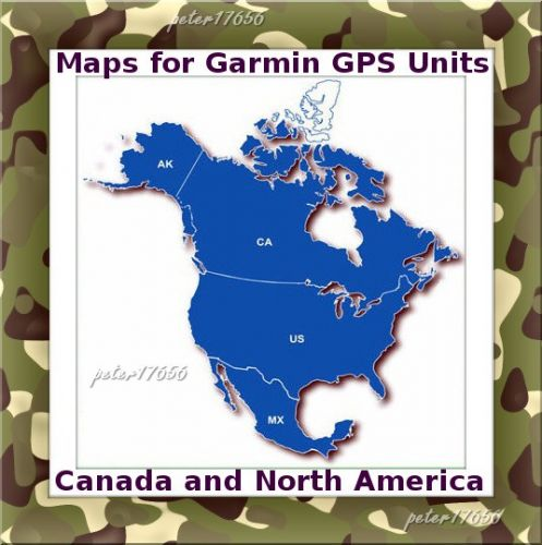 North America Canada and Border States Map for Garmin Devices on DVD